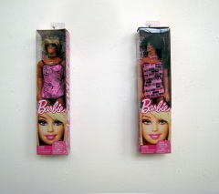 First version (2012) Barbie packaging and modified Ken-dolls.