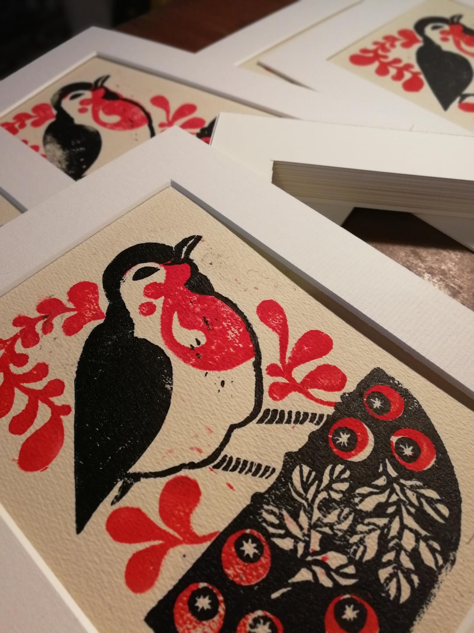 red robin lino cut cards by Tiina Lilja