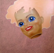 """""""Barbie"""" by Tiina Lilja (2012) acrylic, graphite and oil paint on canvas (120x120cm)"""