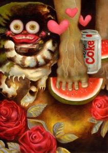 """Night of the living cats"" by Tiina Lilja (2010) acrylic on mdf (29x42cm)"