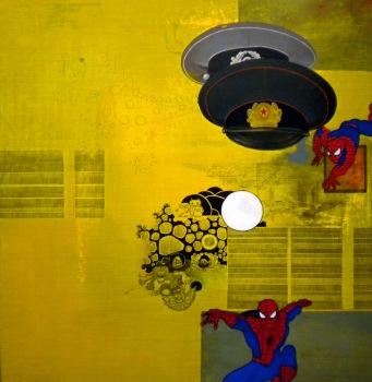 """Spidermen"" by Tiina Lilja (2011) acrylic on canvas (90x95cm)"