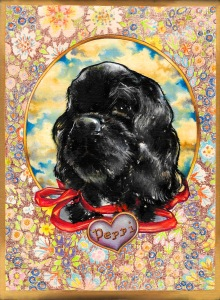 """Heartbraker Black Velvet (Peppi)"" by Tiina Lilja (2015) mixed media on canvas (21x29cm)"