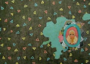 """Mullet Barbie"" by Tiina Lilja (2012) mixed media on canvas (29x42cm)"