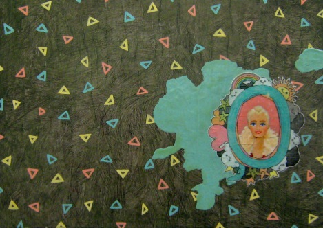 """Mullet Barbie"" by Tiina Lilja (2012) mixed media on canvas (29x42cm)"