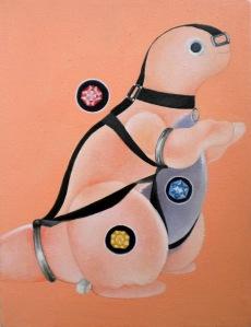 """The Dino Series"" 3/3 by Tiina Lilja (2012) oil on canvas (21x29cm)""The Dino Series"" 3/3 by Tiina Lilja (2012) oil on canvas (21x29cm)"