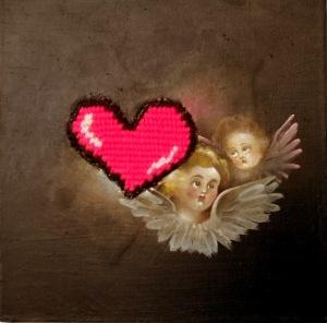 """Cherubs 2"" by Tiina Lilja (2011) mixed media on canvas (20x20cm)"