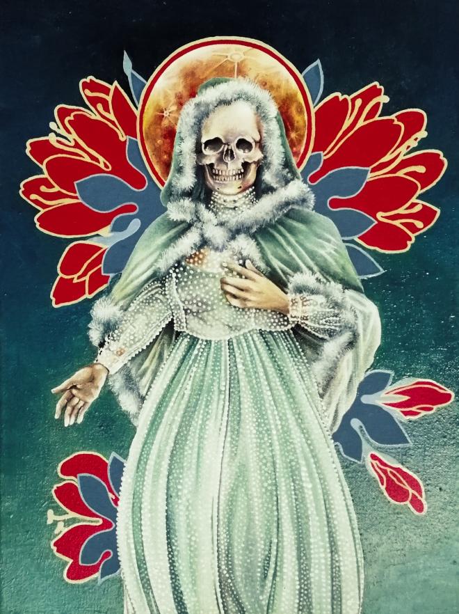 Niña Verde – portrait of Santa Muerte by Tiina Lilja