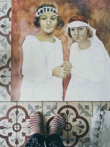 Two Brides - work in progress by Tiina Lilja