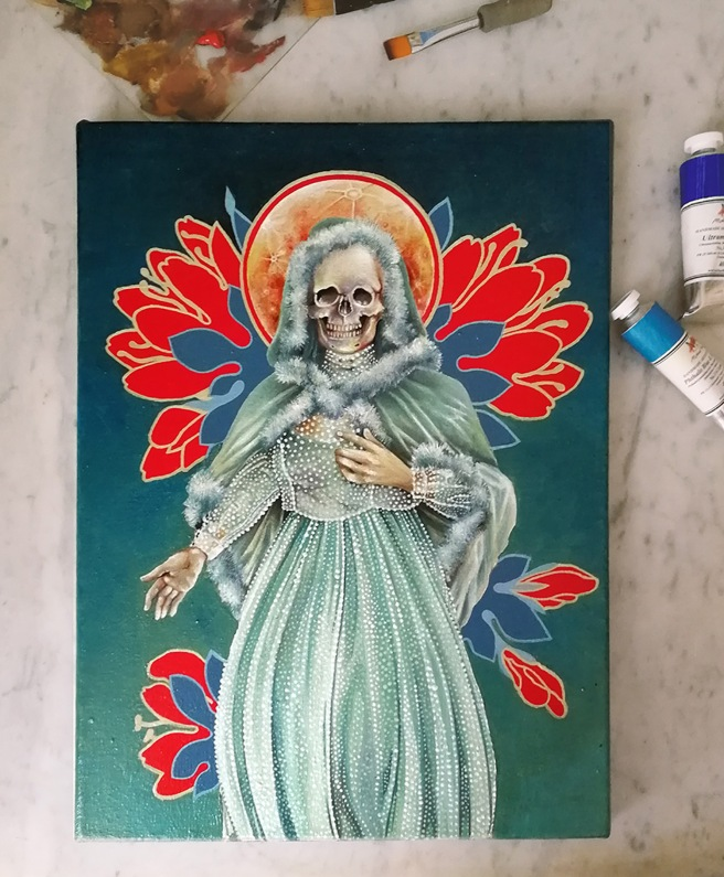 Portrait of Santa Muerte: Nina Verde by Tiina Lilja oil on canvas, 2019