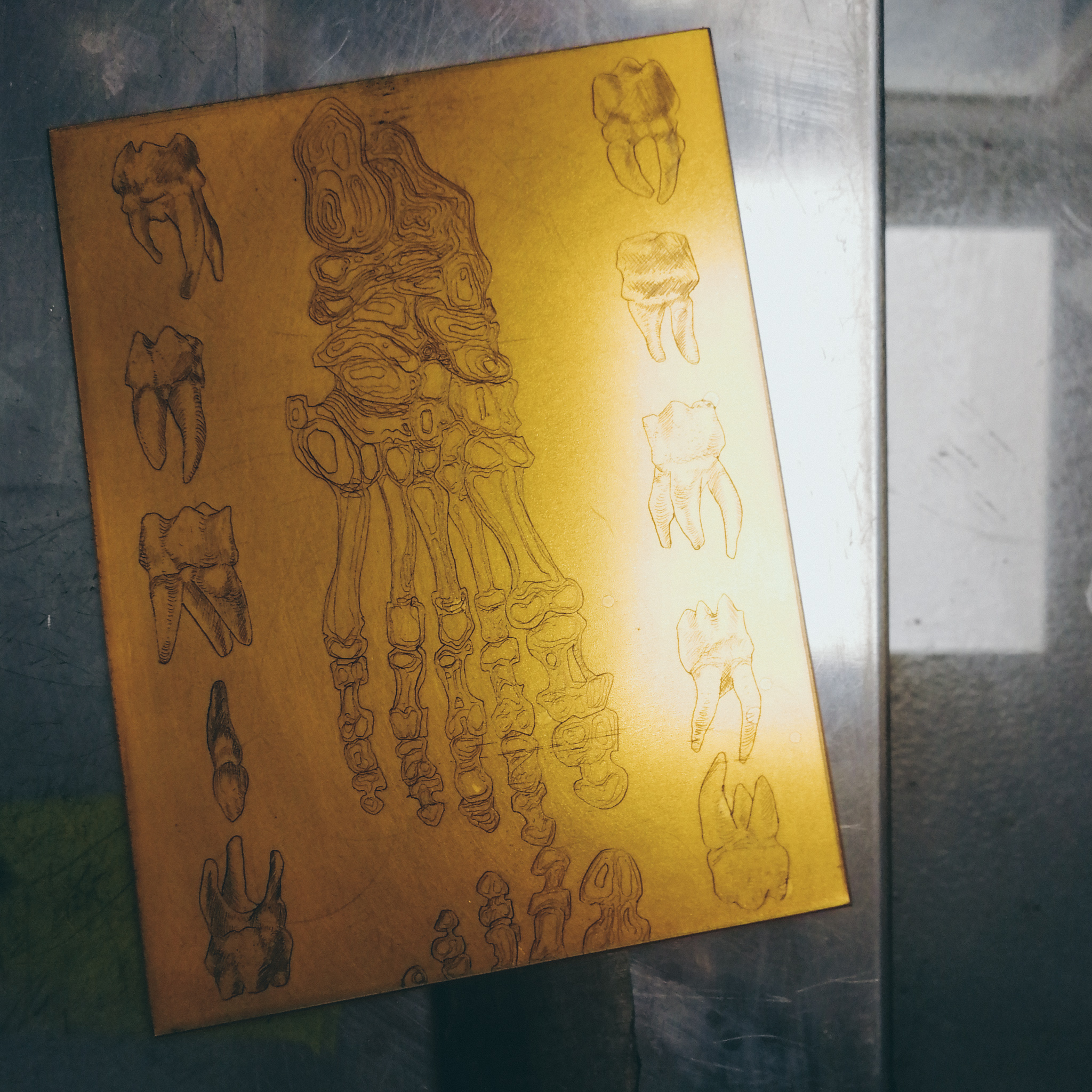 copper etching plate with ink