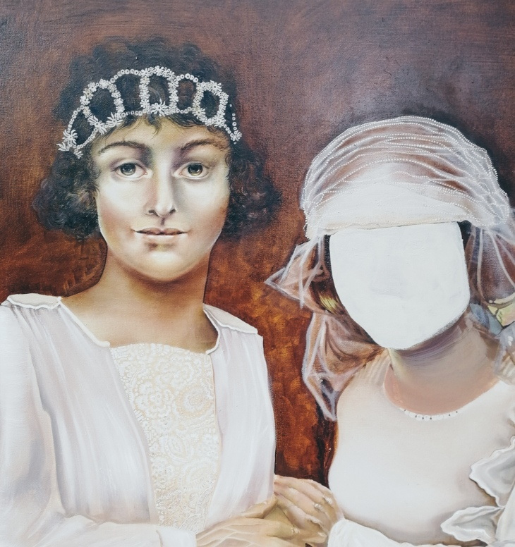 Two Brides, work in progress by Tiina Lilja - repainting a face with oil paints