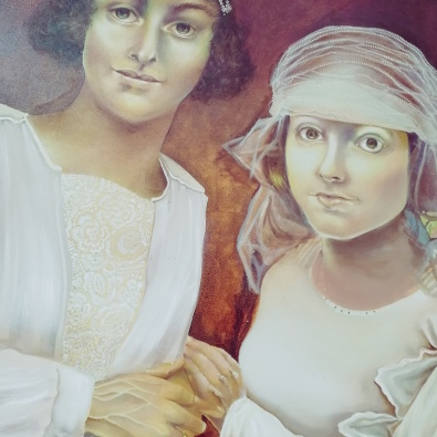 Two Brides, work in progress by Tiina Lilja - after repainting one of the faces