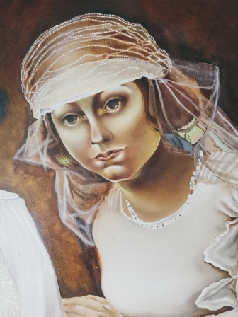 Two Brides, work in progress by Tiina Lilja - details of the old face before repainting