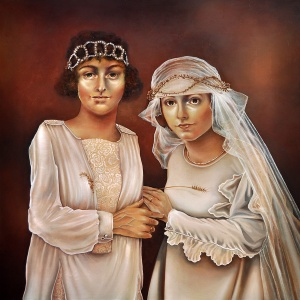 Two Brides, painting by Tiina Lilja, oil on canvas (2019)