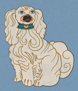 cavalier king Charles spaniel illustration by Tiina Lilja This one was inspired by Staffordshire dog statues.