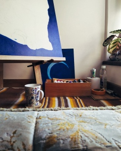 working from home - this is my new work space for the next few months... yay.
