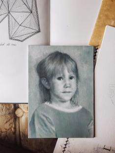 Work in progress Self portrait as a kid by Tiina Lilja