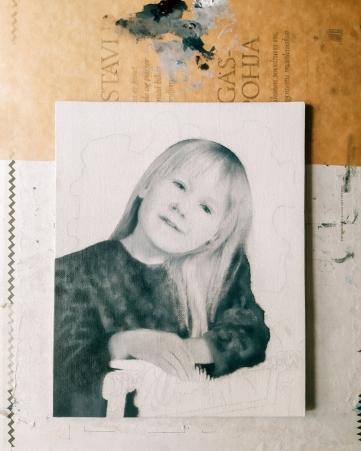 Work in progress Portrait of my sister as a kid by Tiina Lilja