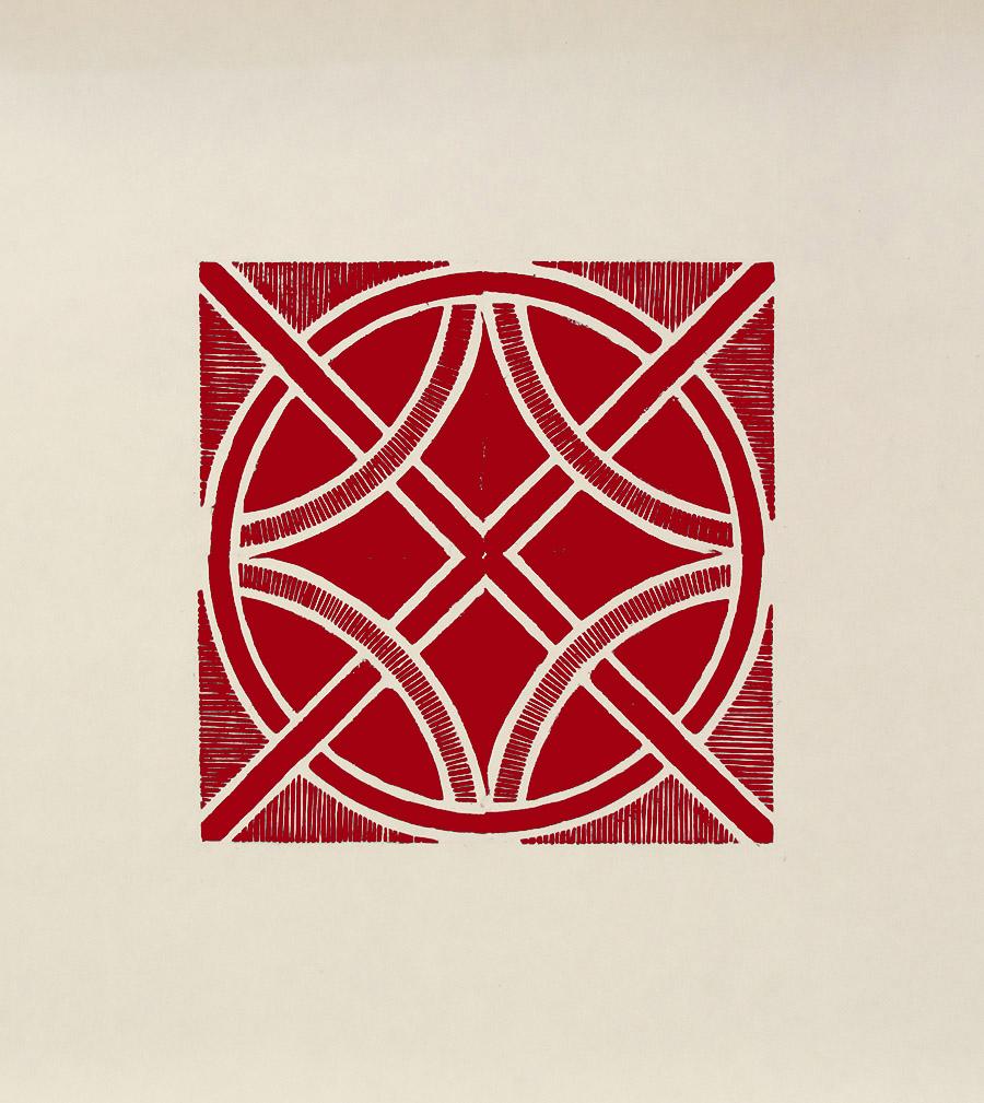 """""""Beton"""" linocut by Tiina Lilja in red"""