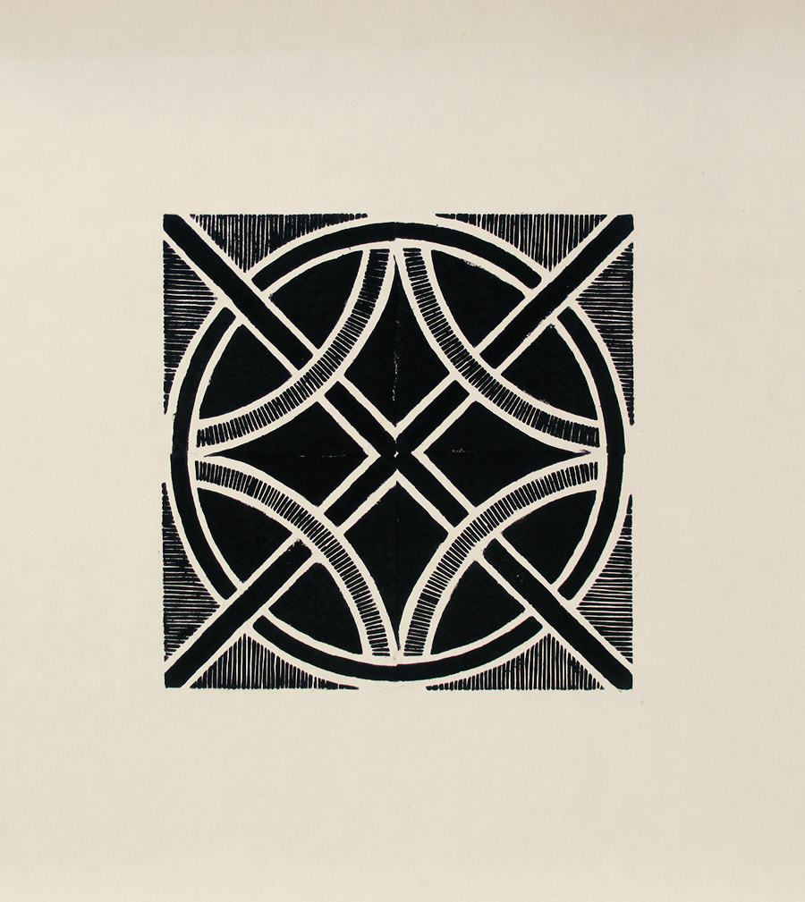 """""""Beton"""" linocut by Tiina Lilja in black"""