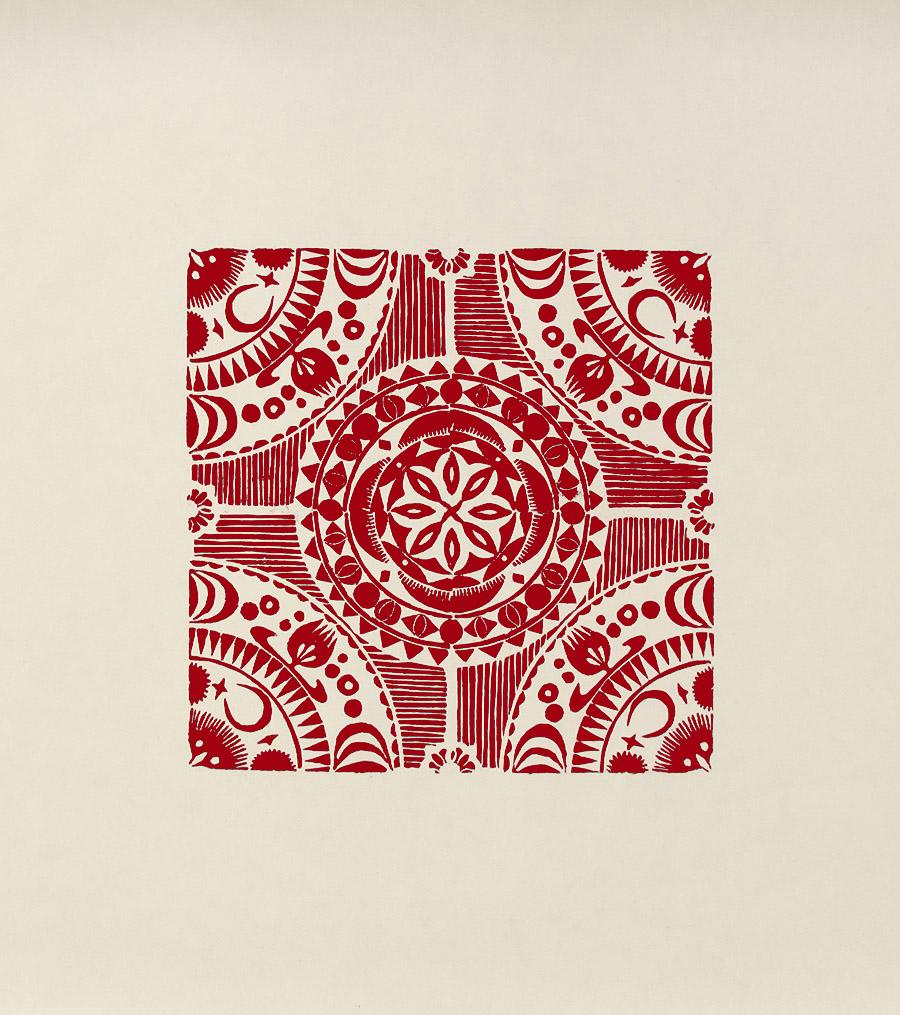 """Crecent II"" linocut by Tiina Lilja in red"