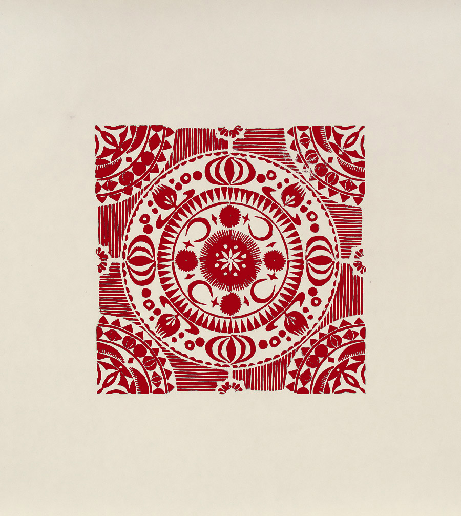 """""""Crecent I"""" linocut by Tiina Lilja in red"""