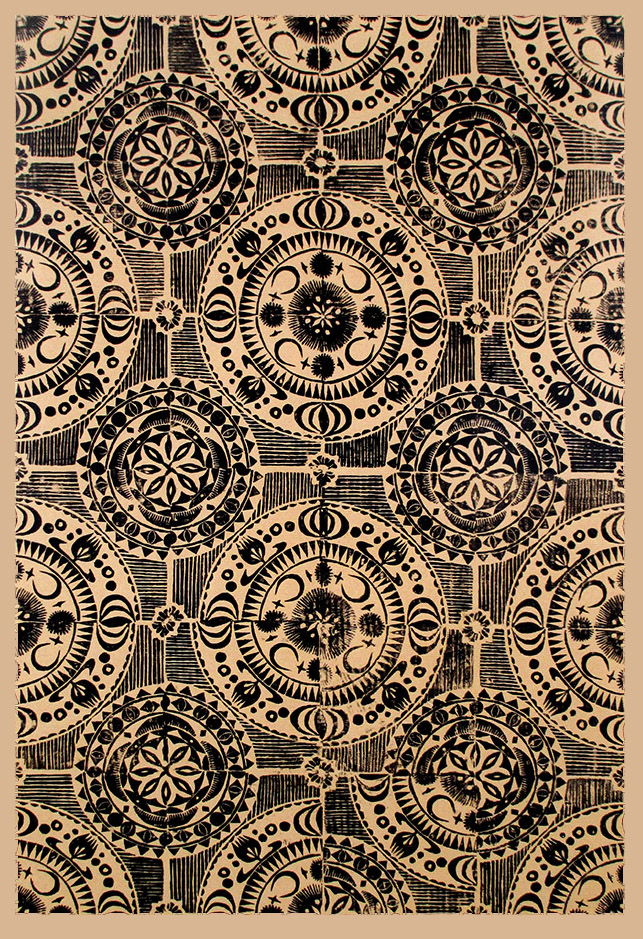 """Crecent I"" linocut by Tiina Lilja, black on craft paper"
