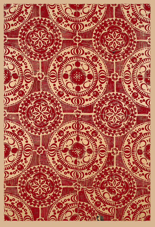 """Crecent I"" linocut by Tiina Lilja, red on craft paper"