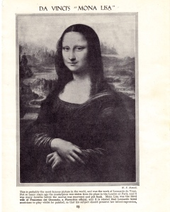 "Da Vinci's ""Mona Lisa"" from Newnes' Pictorial Knowledge 1950's Encyclopedia (Edited by Enid Blyton), the base of my Door to Door submission."